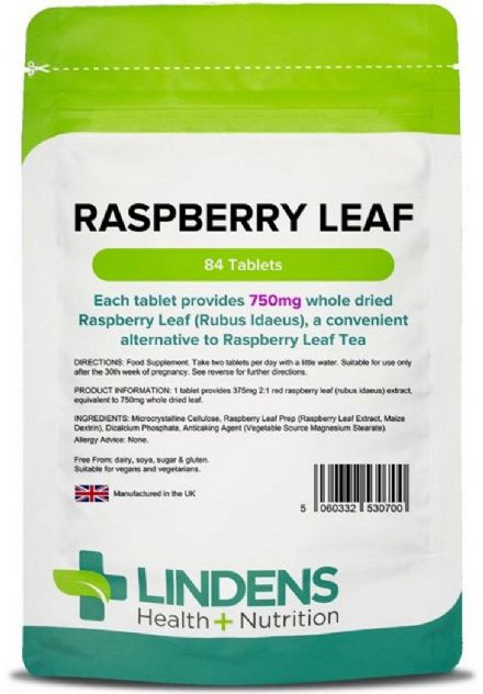 Raspberry Leaf 750mg x 84 Tablets; Lindens